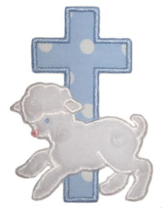 Lambs and Cross Applique - embroidery-boutique