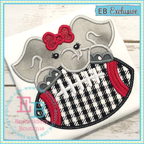 Football Elephant Girl Applique, Applique