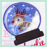 Deer Snow Globe Applique - embroidery-boutique
