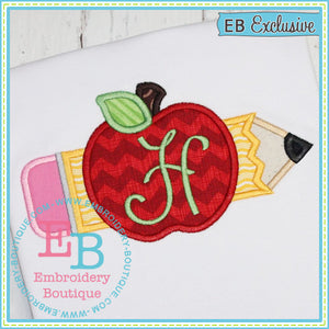 Pencil Apple Applique, Applique