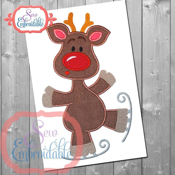 Skating Deer Applique - embroidery-boutique