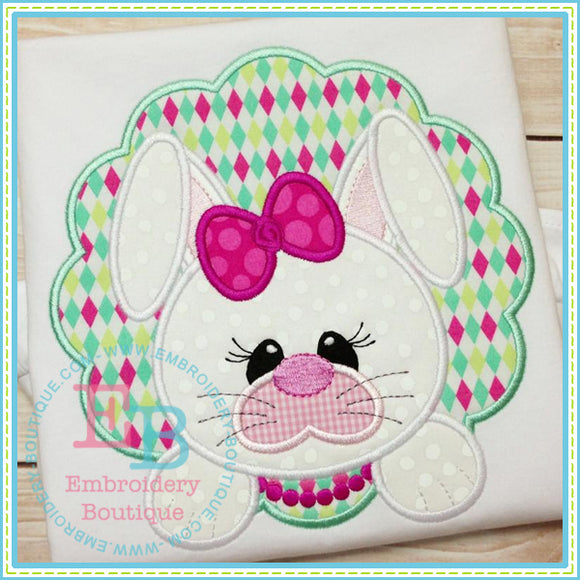 Bunny Face Girl Applique, Applique