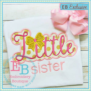 Little Sister Bow Applique - embroidery-boutique