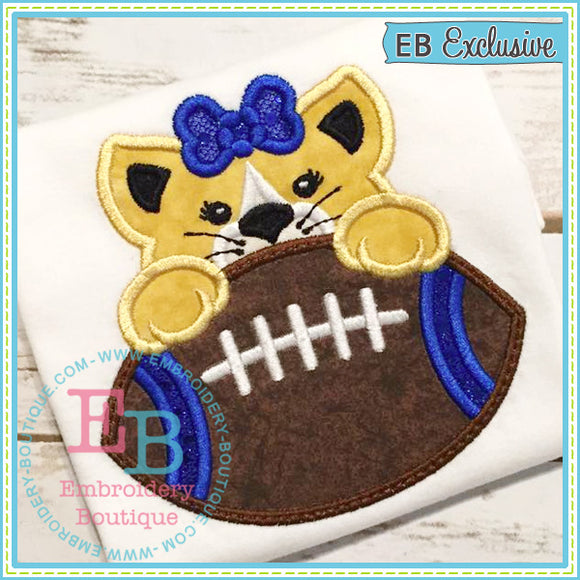 Football Wildcat Girl Applique, Applique
