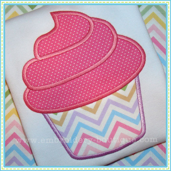 Swirled Cupcake Applique - embroidery-boutique
