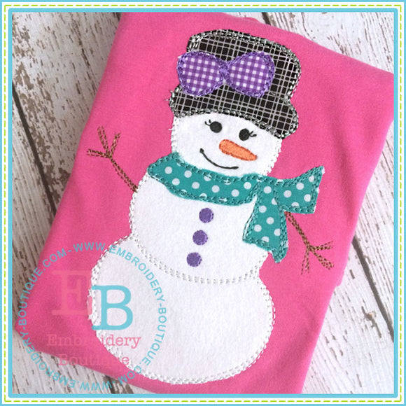 Scribble Snow Girl Applique - embroidery-boutique