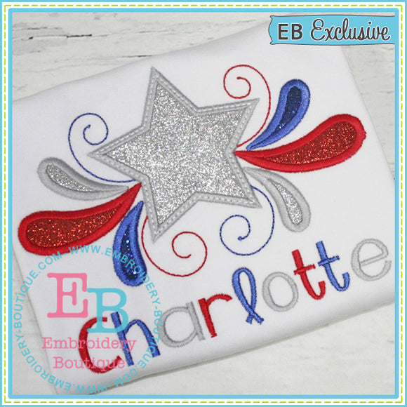 Star Swirls Applique - embroidery-boutique
