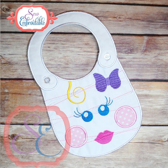 ITH Girl Mummy Baby Bib, In The Hoop Projects