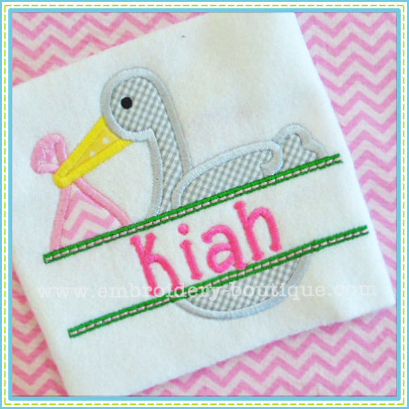 Split Stork Applique - embroidery-boutique