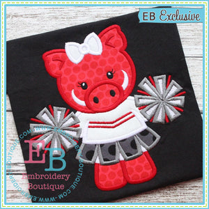 Girl Pig Mascot Applique - embroidery-boutique
