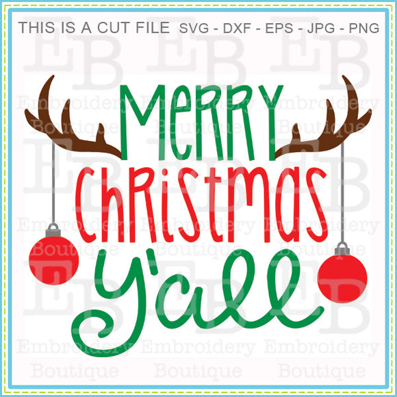 Antlers Christmas Yall SVG, SVG Cut Files