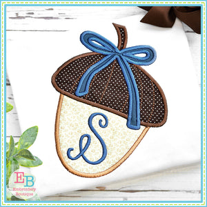 Acorn Bow Satin Stitch Applique, Applique