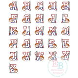 Baseball Bat Applique Alphabet - embroidery-boutique
