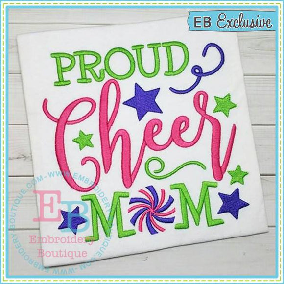 Proud Cheer Mom Design, Embroidery