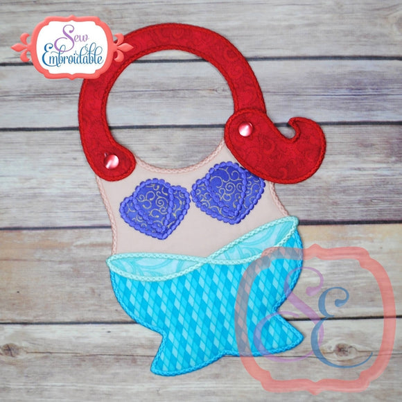 ITH Mermaid Baby Bib - embroidery-boutique