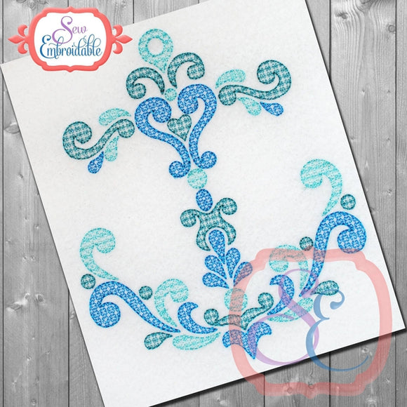 Damask Anchor Motif Embroidery Design
