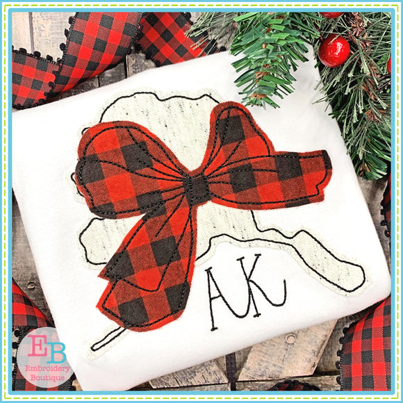 Big Bow Alaska Bean Stitch Applique, Applique