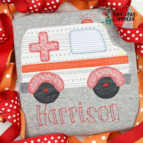 Ambulance Blanket Stitch Applique Design