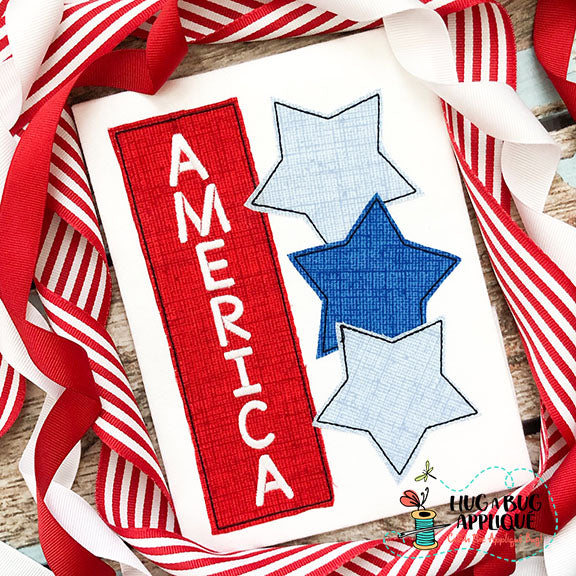 America Stars Bean Stitch Applique Design-Embroidery Boutique