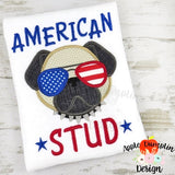 American Stud Pug Applique Design, applique