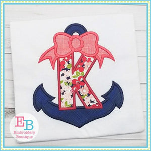 Anchors Away with Bow Applique Alphabet, Applique Alphabet