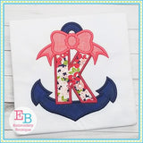 Anchors Away with Bow Applique Alphabet - embroidery-boutique