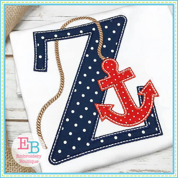 Nautical Anchor Alphabet, Applique Alphabet