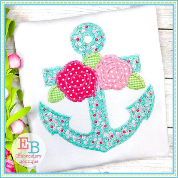 Anchor Roses Zigzag Applique, Applique