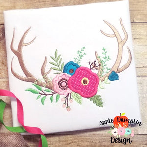 Antlers with Flowers  Applique Design, applique