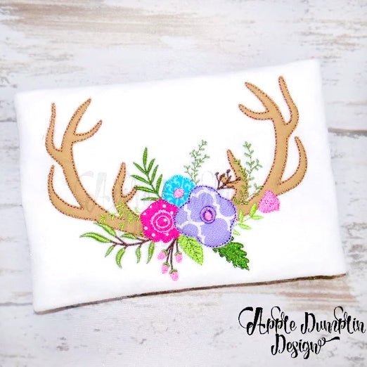Antlers with Flowers Bean Stitch Applique Design, applique