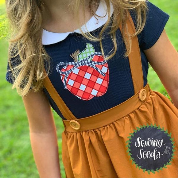 Apple with Classic Bow Applique SS, Applique