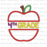 Apple Fourth Grade Applique Design, Applique
