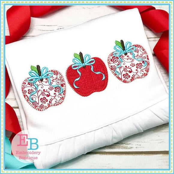 apple trio applique, 3 apples applique, blanket stitch apples applique