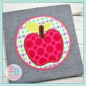 Apple Circle Patch Applique, Applique