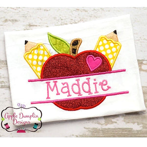 Apple Pencil Split Applique Design, applique