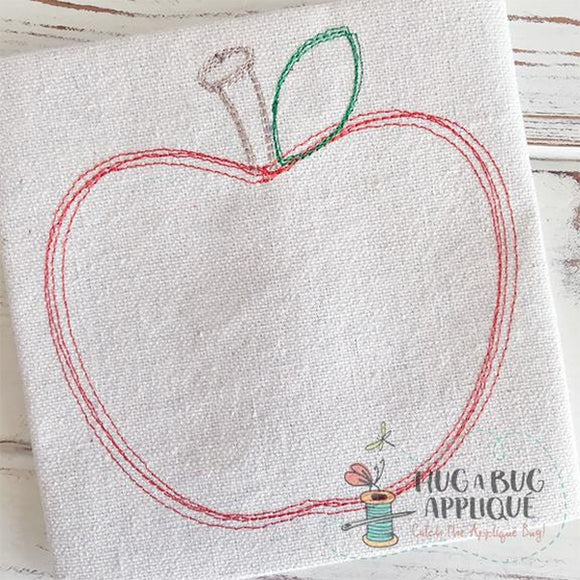 Apple Scribble Stitch Embroidery Design, Embroidery