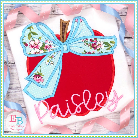 Apple Big Bow Satin Applique, Applique