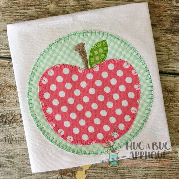 Apple Circle Blanket Stitch Applique Design-Embroidery Boutique