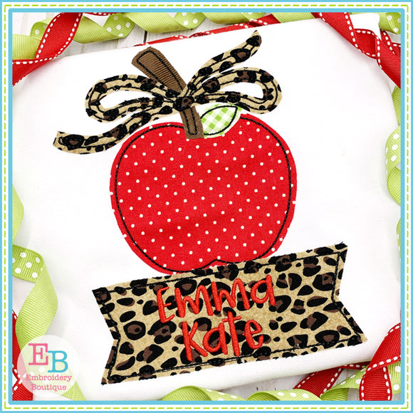 Banner Under Apple Bow Applique, Applique