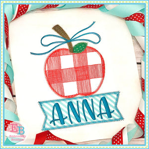 Banner Under Apple Bow Zigzag Applique-Embroidery Boutique