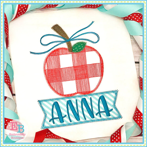 Banner Under Apple Bow Zigzag Applique, Applique