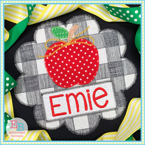 Apple Name Bow Circle Zigzag Applique, Applique