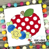 Apple Flowers Bean Stitch Applique Design, Applique