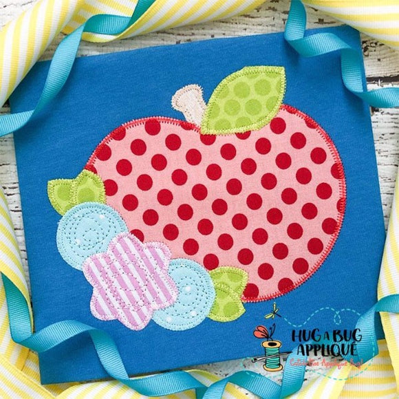 Apple Flowers Zig Zag Stitch Applique Design