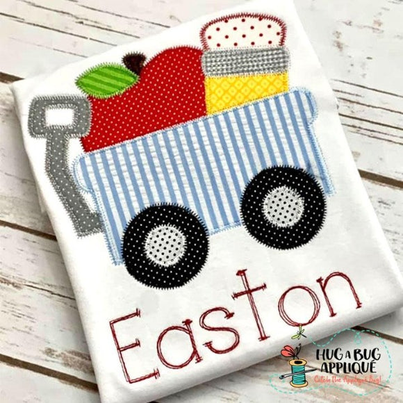 Apple Pencil Wagon Zig Zag Stitch Applique Design