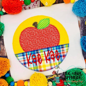 Apple Split Circle Zig Zag Stitch Applique Design, Applique