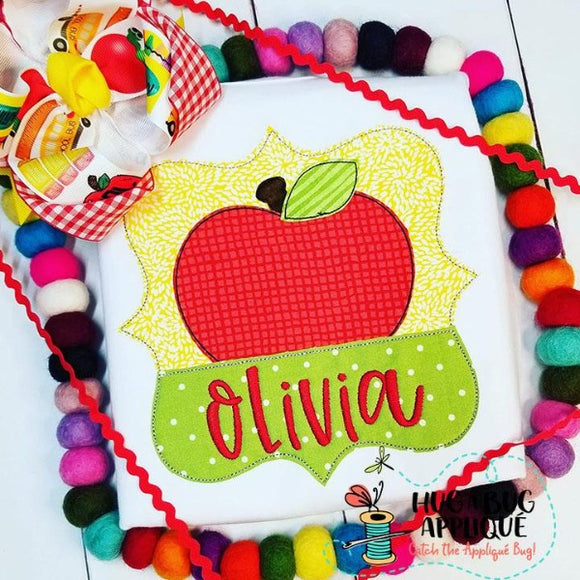 Apple Split Frame Bean Stitch Applique Design, Applique