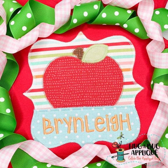 Apple Split Frame Zig Zag Stitch Applique Design, Applique