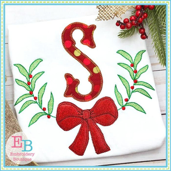 Bow Wreath Blanket Stitch Applique
