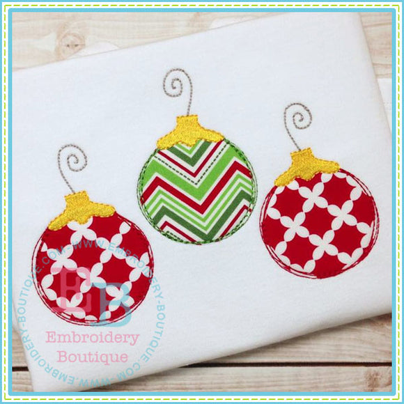 Scribble 3 Ornaments Applique, Applique